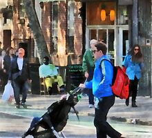 Daddy Pushing Stroller Greenwich Village by Susan Savad