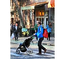 Daddy Pushing Stroller Greenwich Village Photographic Print