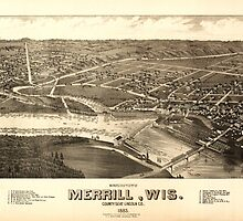 Panoramic Maps Bird's eye view of Merrill Wis county seat Lincoln Co 1883 by wetdryvac