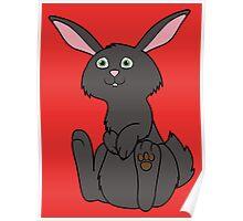 Sitting Black Rabbit Poster