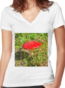 Classic red and white potted toadstool. Fly agaric or Fly amanita (Amanita muscaria) Women's Fitted V-Neck T-Shirt