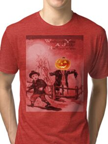 The Scarecrow (Vintage Halloween Card) Tri-blend T-Shirt