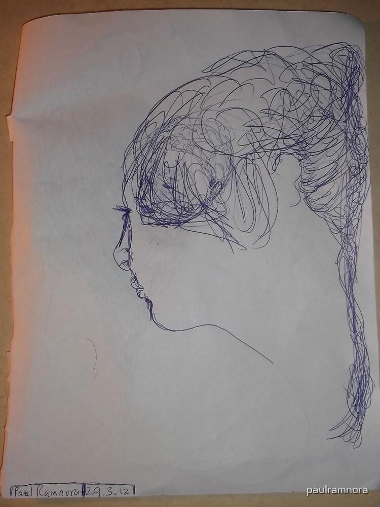 female head -(290312)- blue biro pen/A4 by paulramnora