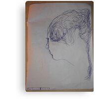 female head -(290312)- blue biro pen/A4 Canvas Print
