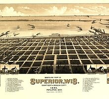Panoramic Maps Bird's eye view of Superior Wis county seat of Douglas county 1883 by wetdryvac