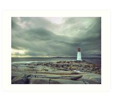 Stormy Sky over Nova Scotia Lighthouse - Peggys Cove Art Print