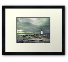 Stormy Sky over Nova Scotia Lighthouse - Peggys Cove Framed Print
