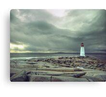 Stormy Sky over Nova Scotia Lighthouse - Peggys Cove Canvas Print