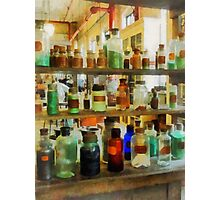 Bottles of Chemicals Green and Brown Photographic Print