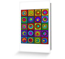 Colorful Cocentric Circles Abstract Greeting Card