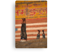 Doing Yoga on the Ghats Canvas Print