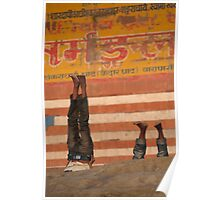 Doing Yoga on the Ghats Poster