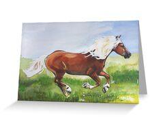 Palomino Horse On Morning Run Greeting Card