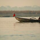 Fishing Boat with Red Flag by SerenaB