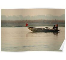 Fishing Boat with Red Flag Poster