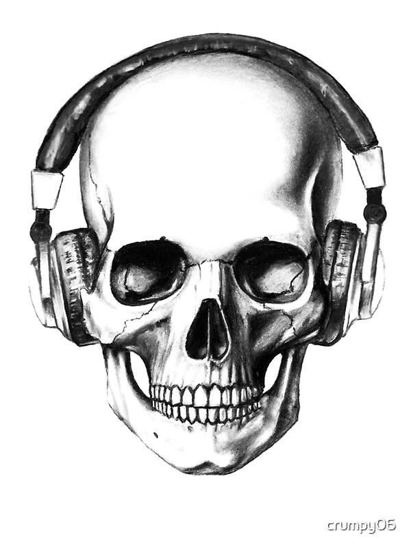 skull headphones greeting cards by crumpy06 redbubble. Black Bedroom Furniture Sets. Home Design Ideas