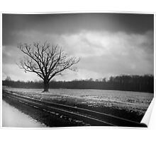 Rural Winter Railroad Tracks Poster