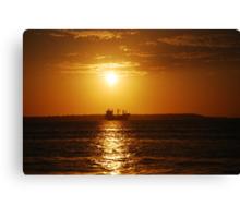 Sunset boat Canvas Print