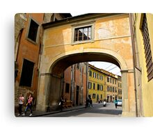 arch in coloured building  Canvas Print