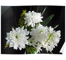 Purity - White Hyacinth and Dahlias Poster