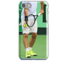 Tennis player in white clothes ready to serve a ball iPhone Case/Skin