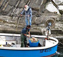fishermen in blue boat by Anne Scantlebury