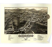 Panoramic Maps Bird's eye view of Whitefield Coos County NH 1883 Poster