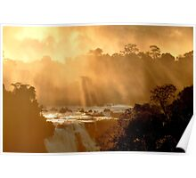 sunrays at Iguassu Falls Poster