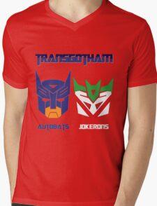 Batman and Transformers - TransGotham Mens V-Neck T-Shirt