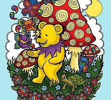 Grateful Dead dancing bear, fairy bears and mushrooms by Littledasypus
