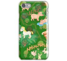 Farmyard with domestic animals, trees and footpaths iPhone Case/Skin