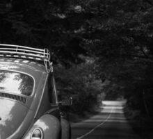 VW Beetle 'TOMMY' Life is a Journey B&W Landscape Sticker