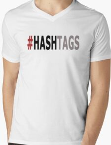 Twitter Hashtag (Black/Grey) Mens V-Neck T-Shirt
