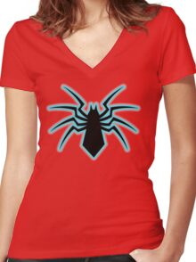 spider man spiderman  Women's Fitted V-Neck T-Shirt
