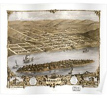 Panoramic Maps Bird's eye view of the city of Hermann Gasconade Co Missouri 1869 Poster