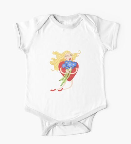 Woman with heart body flies with flowers in their hands One Piece - Short Sleeve