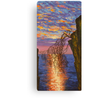 Sunset on cliff Canvas Print