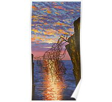 Sunset on cliff Poster
