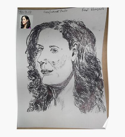 Female Head/Copy Internet Photo -(300312)- black biro pen/A4 Poster