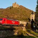 Freight train passing Wellmich, near St. Goarshausen, Germany by David A. L. Davies