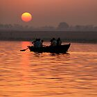 Rowing Boat on the Ganges at Sunrise by SerenaB