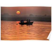 Rowing Boat on the Ganges at Sunrise Poster
