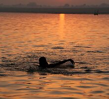 Swimming in the Ganges at Sunrise by SerenaB