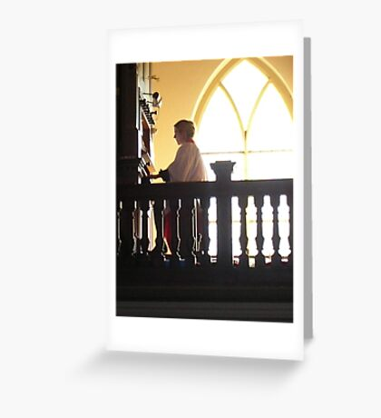 choral evensong with female organist Greeting Card