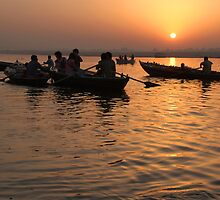 Tourists Enjoying Sunrise on the Ganges by SerenaB