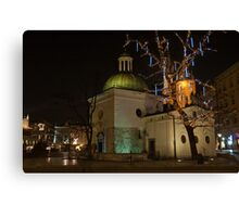 Church of St Wojciech Main Market Krakow by night Canvas Print