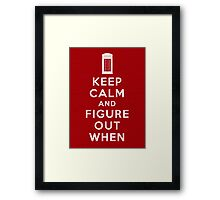 Keep Calm and Figure Out When (light t-shirt) Framed Print