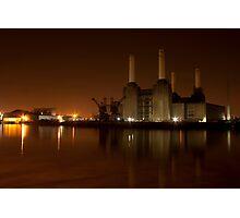 Battersea at night burnt umber Photographic Print