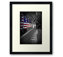 American Flags Over the Highway Framed Print