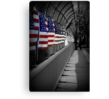 American Flags Over the Highway Canvas Print